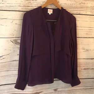 PARKER  XS button down 100% silk blouse